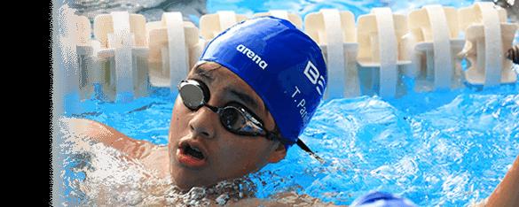 boy swim training