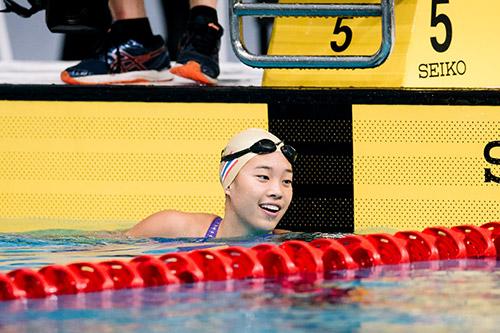 Best national swimmer Kornkarnjana in the pool